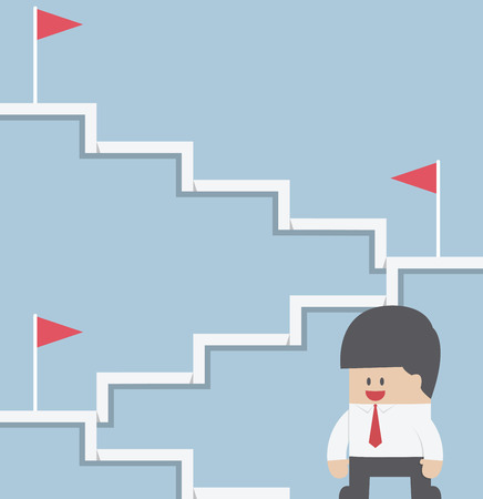 Businessman climbing on the stairway to target, VECTOR, EPS10