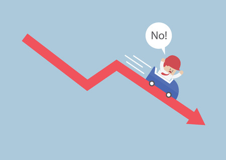 afraid man: Businessman going down in a roller coaster over stock market arrow, VECTOR, EPS10 Illustration