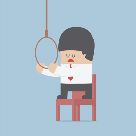 unhappy worker: Businessman thinking to suicide with hanging rope, VECTOR, EPS10