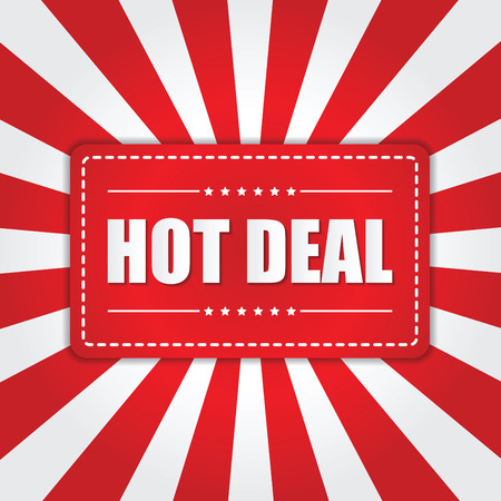 hot deal: Hot Deal banner with sunburst effect on white and red background, VECTOR, EPS10 Illustration