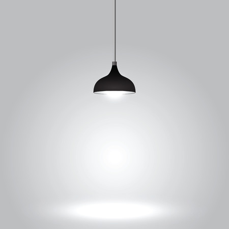 Black ceiling lamp on gray background, VECTOR, EPS10