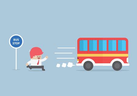 El hombre de negocios que llega demasiado tarde en la parada de autobús, vector, EPS10