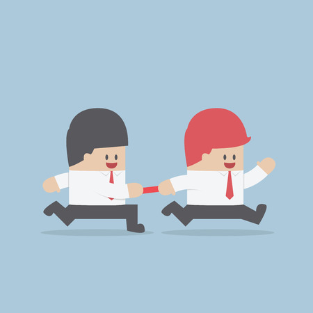 relay: Businessman passing baton to the other in relay race, VECTOR, EPS10