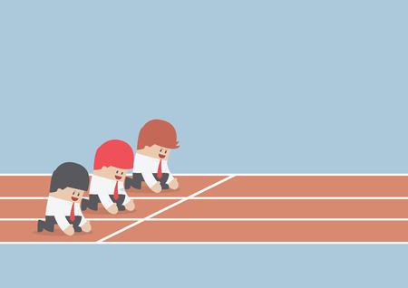 시작 지점, 비즈니스 경쟁 개념, 벡터, EPS10에서 실행할 준비가 사업가