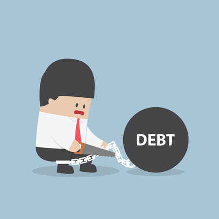 Businessman trying to destroy debt chain by hacksaw, VECTOR, EPS10