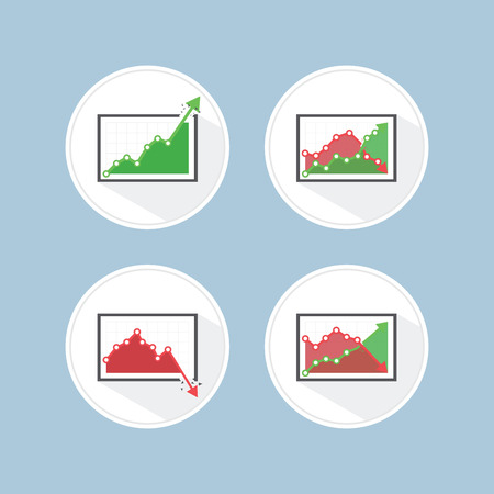 rise fall: Rise and fall business graph, VECTOR, EPS10