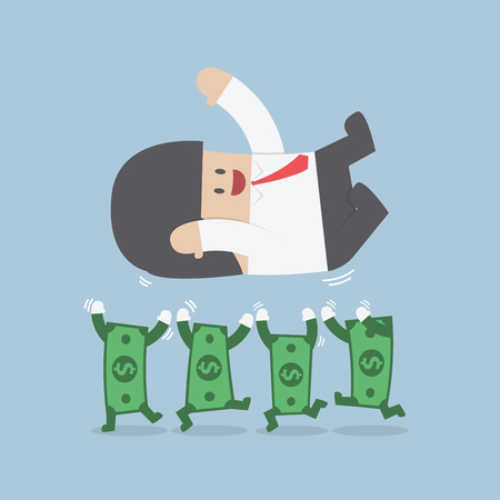 Successful businessman being throwing up by dollar bill, VECTOR, EPS10