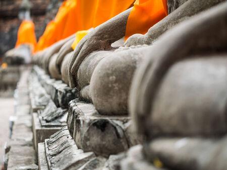 ayuttaya: Buddha statue in Wat Yai Chai Mongkol, Ayuttaya, Thailand Stock Photo