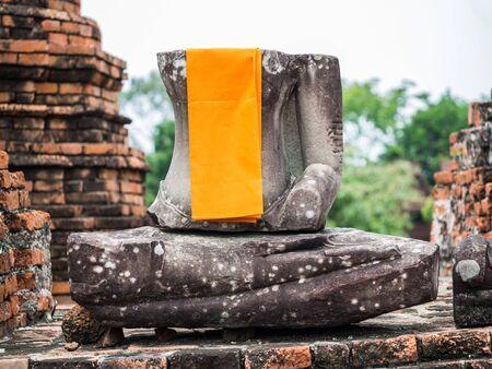 ayuttaya: Old Buddha statue at Wat Chai Watthanaram, Ayuttaya,Thailand Stock Photo