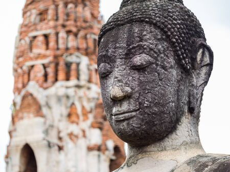 Ancient Buddha Statue at Mahatat Temple, Ayuttaya, Thailand photo