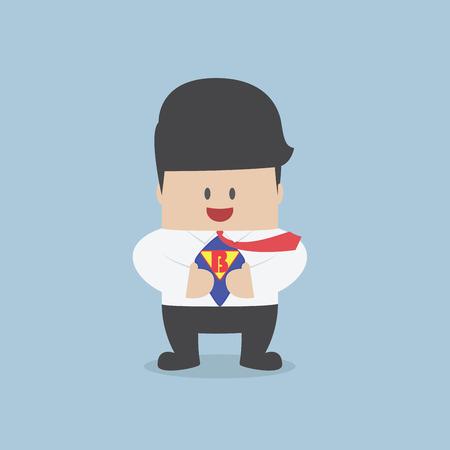 젊은 사업가 그의 셔츠를 찢어하고 슈퍼 히어로 소송을 표시, 벡터, EPS10 스톡 콘텐츠 - 35173844