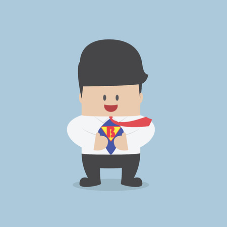 Young businessman tearing his shirt and showing the superhero suit, VECTOR, EPS10 Stock Illustratie