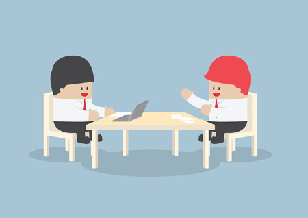 Businessmen brainstorming together at conference table, VECTOR, EPS10