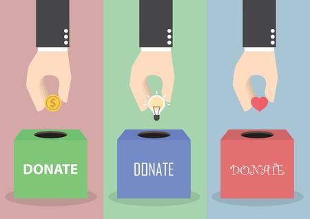 Mano de empresario que pone la moneda, la bombilla y el corazón en la caja, el concepto de donación, VECTOR, EPS10