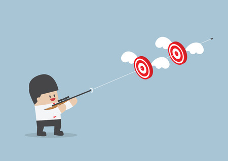 cartoon sport: Businessman shoot two targets with one bullet, VECTOR,