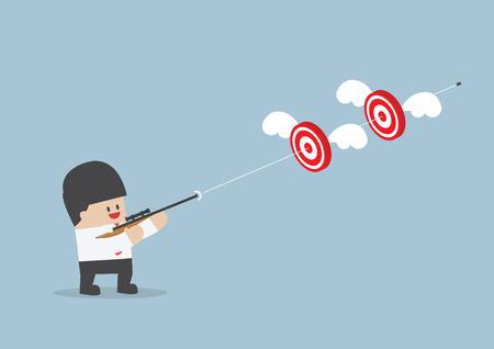 Businessman tirer deux cibles avec une seule balle, vecteur, Banque d'images - 35382750