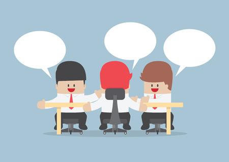 Group of businessmen brainstorming together at conference table Stock Illustratie