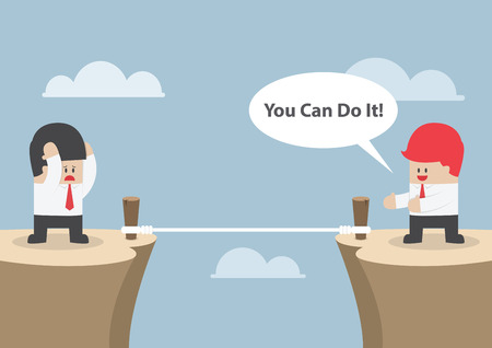 Businessman motivate his friend to cross the cliff by saying \