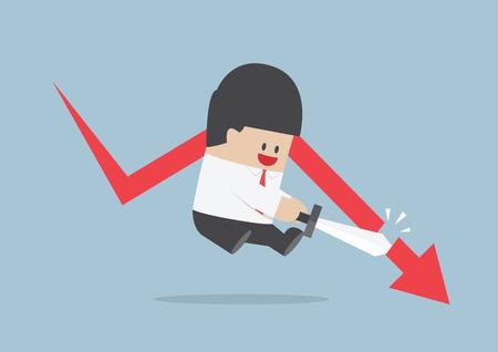 Businessman cut the falling graph, Stock market, Financial concept, VECTOR, EPS10