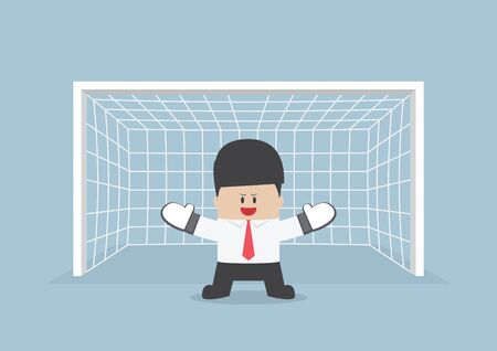 Businessman playing goalkeeper standing in front of goal ready to block the ball, VECTOR, EPS10 向量圖像