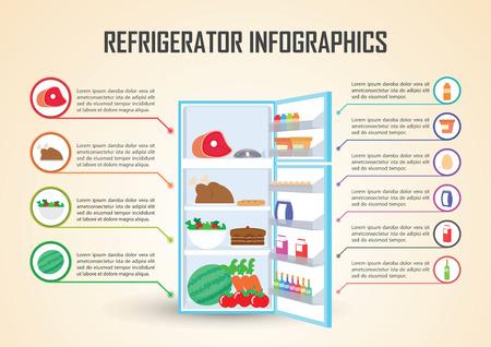 Frigorifero Con Alimento icone Infographic Elements, VECTOR,