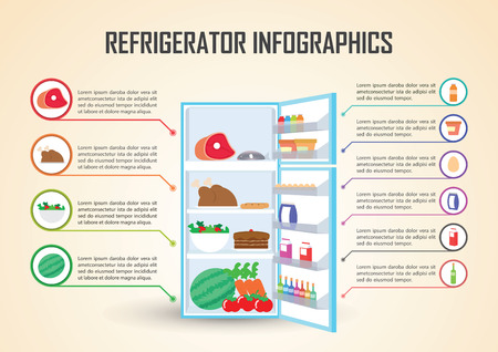 refrigerator: Refrigerator With Food Icons Infographic Elements, VECTOR,