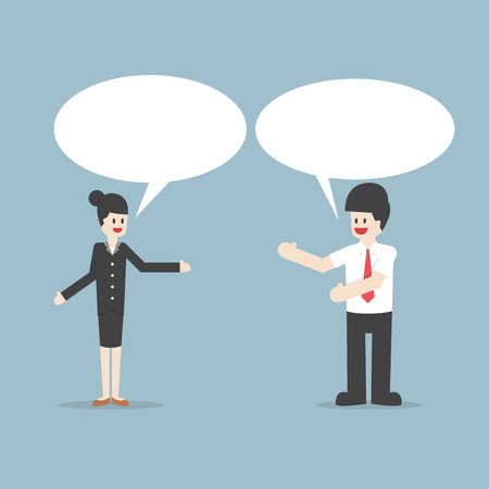 two men talking: Businessman and woman talking with Speech Bubbles, VECTOR, EPS10 Illustration
