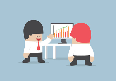 Businessman presentation growth chart on monitor, VECTOR, EPS10 Vector