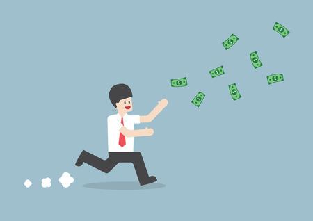 Businessman chasing falling dollar bills, VECTOR,  向量圖像