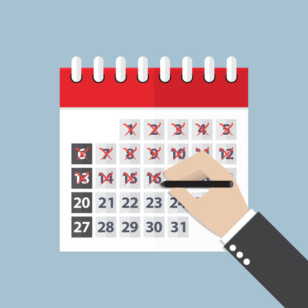 horarios: Empresario manos marcan en el calendario, VECTOR.