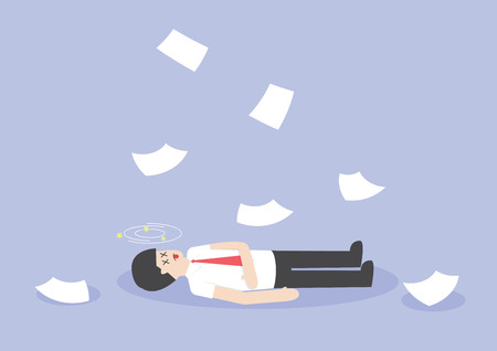 faint: Businessman work hard and unconscious on the floor, VECTOR, EPS10 Illustration