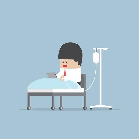 Sick businessman working hard in hospital bed, VECTOR 일러스트