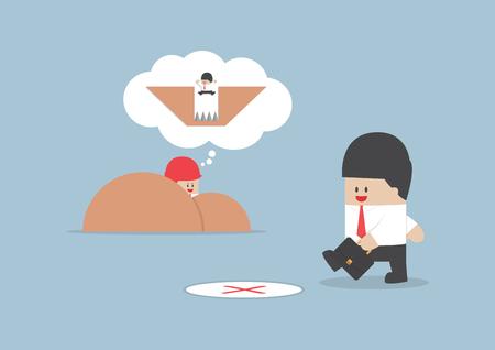 pitfall: Businessman walking into a trap, Business concept, VECTOR