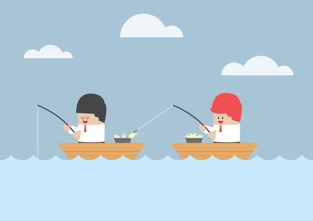 pescando: Empresario robar el pescado de su amigo, VECTOR