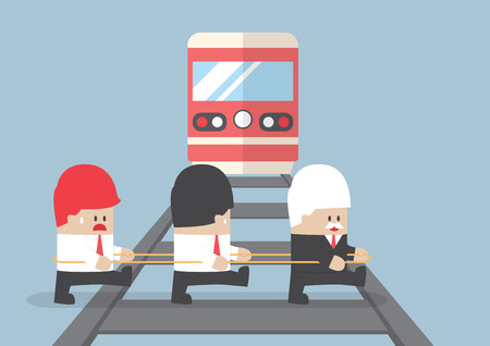 teamwork cartoon: Business leader crossing railroad by ignoring his team, VECTOR, EPS10