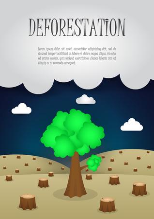 deforestacion: Los últimos árboles que quedan en el bosque, la naturaleza concepto tema de la deforestación, VECTOR, EPS10