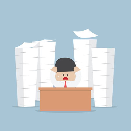 Tired and busy businessman with piles of work to do, VECTOR, EPS10