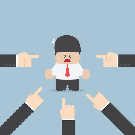 jefe enojado: Empresario siendo apuntado por muchas manos, vector, EPS10