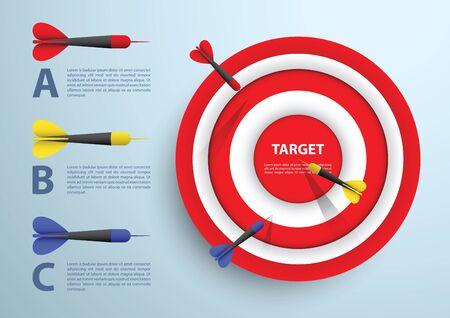 Dardo blanco y plantilla infografía, concepto de negocio, vector, EPS10 Ilustración de vector