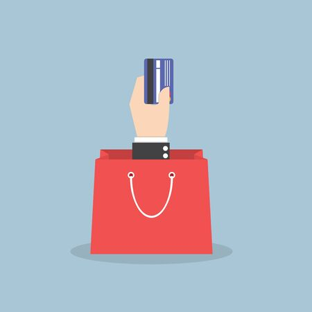 money bags: Businessman hand holding credit card with shopping bag, VECTOR, EPS10 Illustration