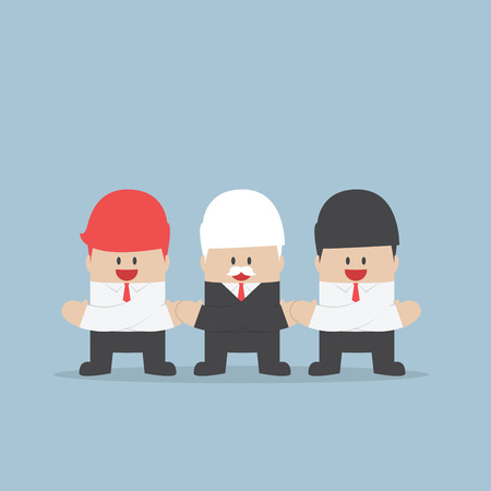 Businessmen holding hands of each other, Unity and teamwork concept, VECTOR,