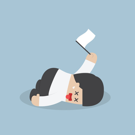 Exhausted businessman lying down on the floor and surrender, VECTOR,