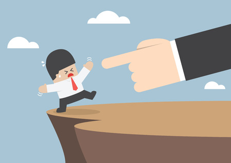 Giant hands push businessman and make him fall from cliff, VECTOR,