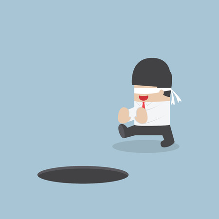 hole: Blindfolded businessman walking into the hole, VECTOR,