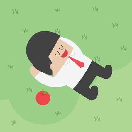rest and relaxation: Businessman relaxing under the tree with apple, VECTOR,