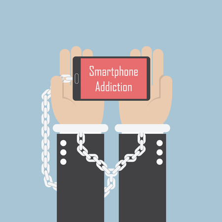 shackle: Businessman hands with smartphone and shackle, Smartphone addiction concept, VECTOR, EPS10