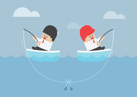in trouble: Businessman and his rival having trouble with fishing rod, VECTOR, EPS10 Illustration