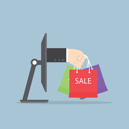 e shopping: Hand with shopping bag sticking out from monitor, E-Commerce, Online shopping Concept, VECTOR, EPS10 Illustration