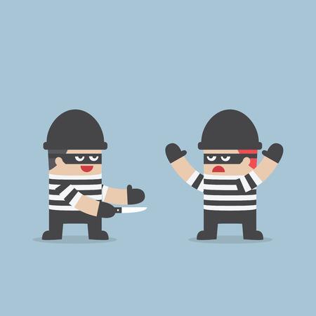 betrayal: The thief betray his friend, VECTOR, EPS10 Illustration