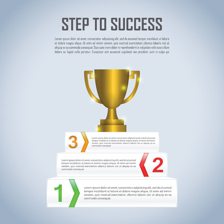 Step to success with winner trophy infographic design template, VECTOR, EPS10 Vector